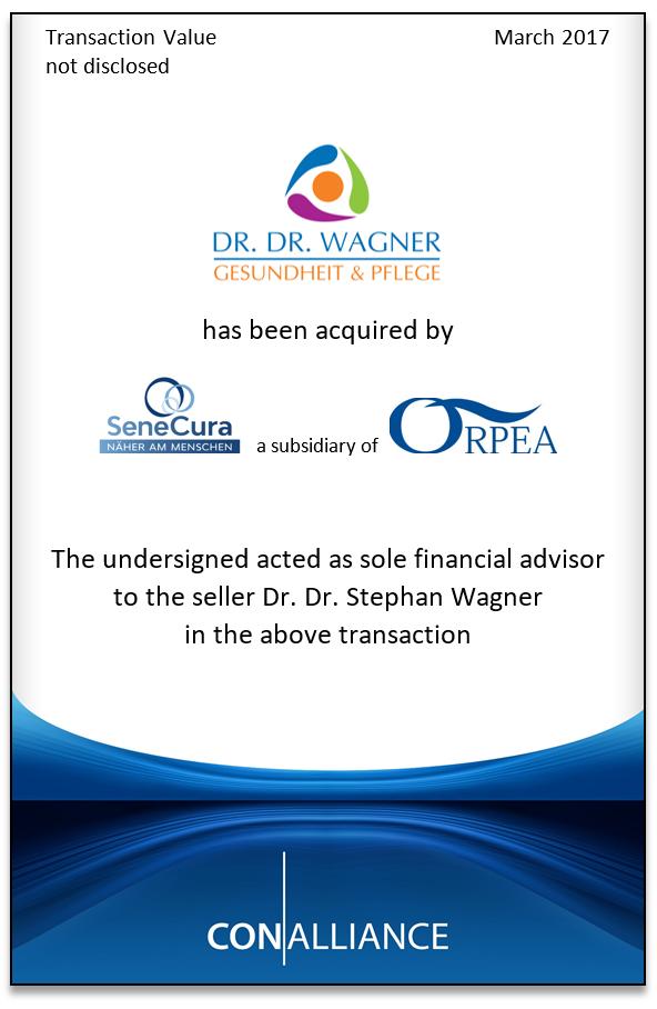 ConAlliance berät den Alleingesellschafter der Dr. Dr. Wagner Gesundheit & Pflege Gruppe beim Verkauf an ORPEA
